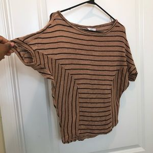 Kirra Tan Black Stripe Short Sleeve Top XS